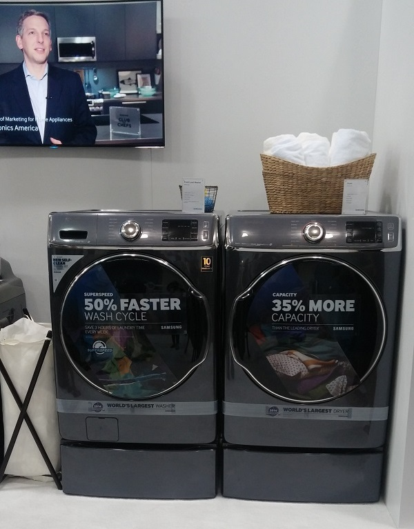 This is the world's largest capacity top load washer and dryer – I can wash and dry four laundry baskets in a single load. A Steam Washer feature helps remove stains with little pre-treatment, while the Steam Dryer means less time ironing and fewer trips to the cleaners. Plus, I can troubleshoot any problems that arise right from my smartphone.