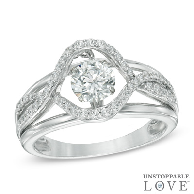 Diamonds from Zales: 6.0mm Lab-Created White Sapphire Swirl Ring in Sterling Silver