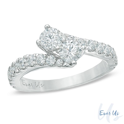 Diamonds from Zales: 3/4 CT. T.W. Two-Stone Diamond Bypass Band in 14K White Gold