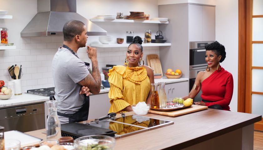 Yandy Smith and Coach Gessie Go Head to Head for a Burger Battle on CLEO TV's Just Eats With Chef JJ faith health and home lifestyle blog